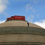 Fire truck on top of Great Dome at MIT