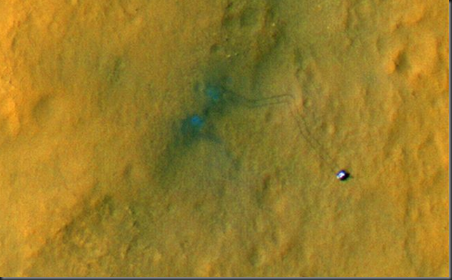 Photo from space of Mars Curiosity Rover tire tracks