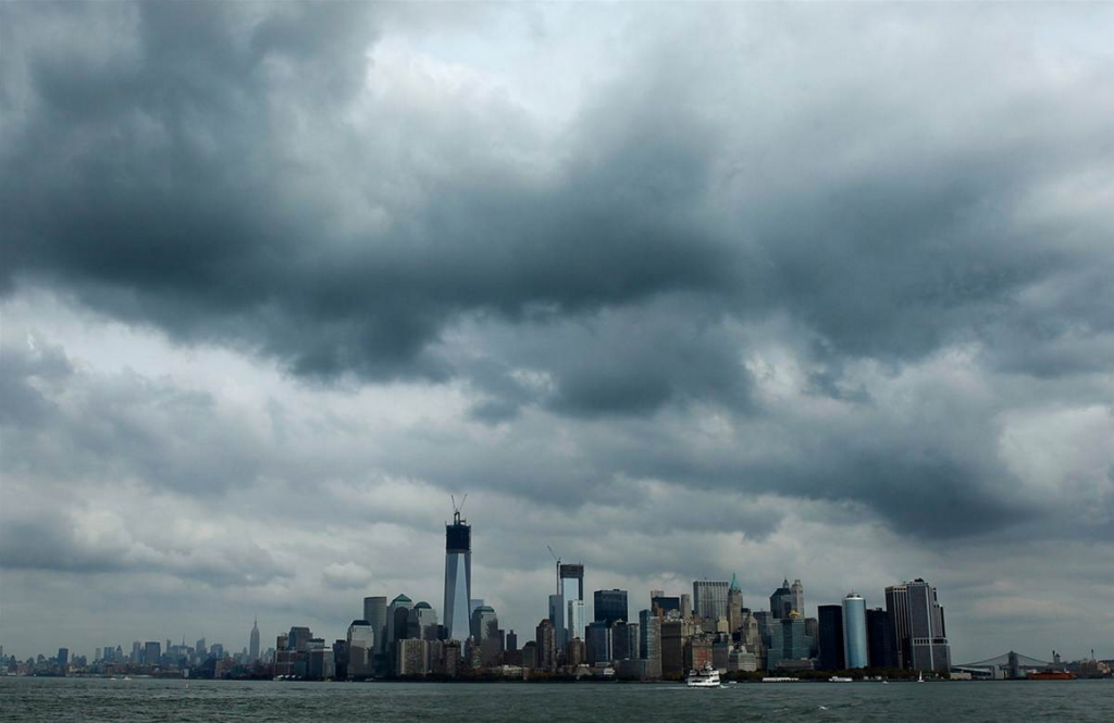 Hurricane Sandy clouds above New York City
