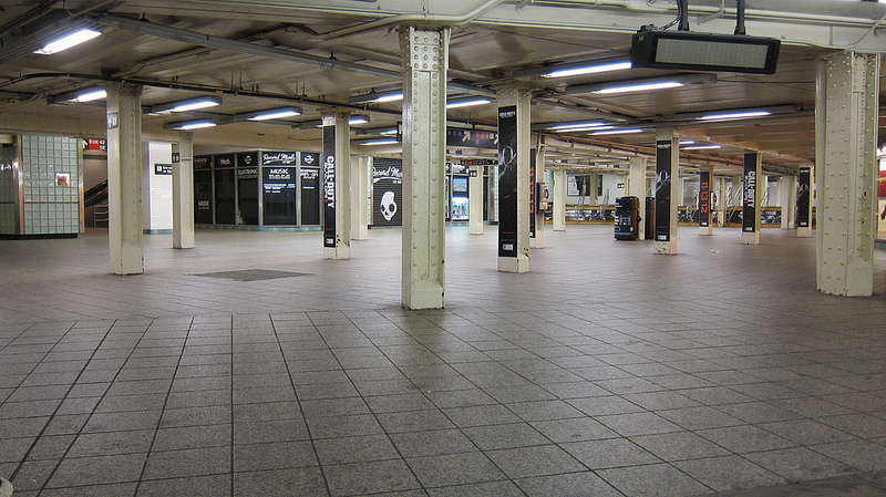 Empty New York Subway system before Hurricane Sandy