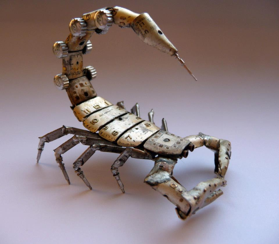 Scorpion made from old watch parts