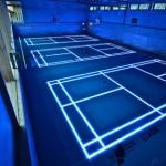 Lit badminton court