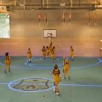Lit flooring marking a basketball court