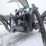 Mantis hexapod robotic machine travelling through snow