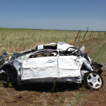 Wreckage of storm chaser, Tim Samaras, car