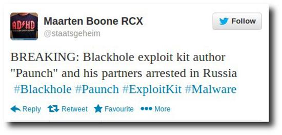 Blackhole malware toolkit author arrested