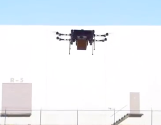 UAV or drone delivering a product from Amazon