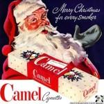 Vintage Camel cigarette ad featuring Santa Claus