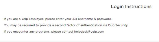 Yelp employee login instructions