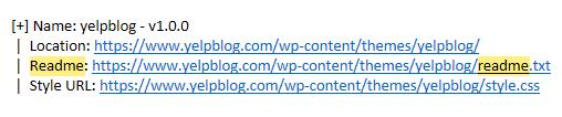 Yelp readme left in WordPress theme directory