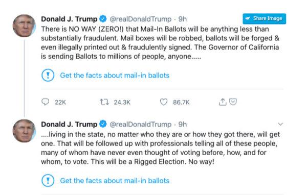 Twitter labels fact checks trump tweet