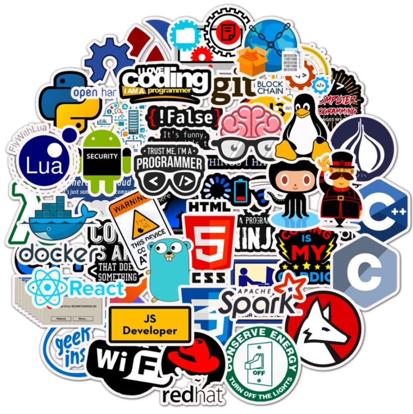 big bag of computer programming stickers