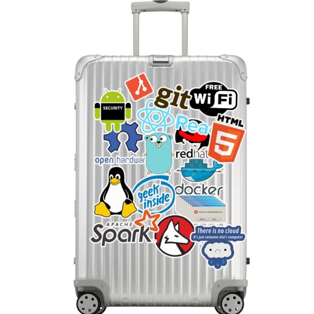 big bag of computer programming stickers git apache spark redhat docker