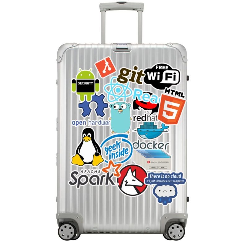 big bag of computer programming stickers git apache spark redhat docker