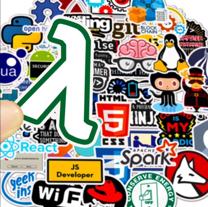 big bag of computer programming stickers js developer html css firefox lua