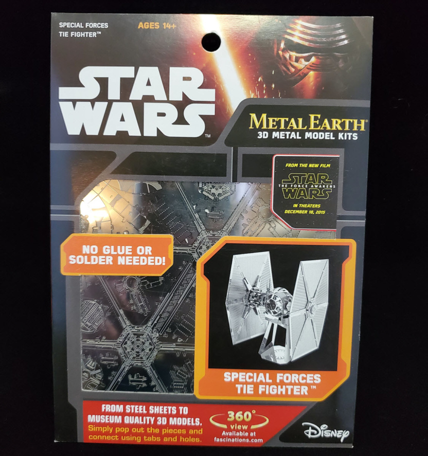 force awakens special forces tie fighter metal earth 3d model kit