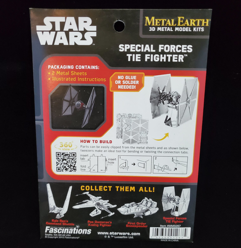 force awakens special forces tie fighter metal earth 3d model kit back