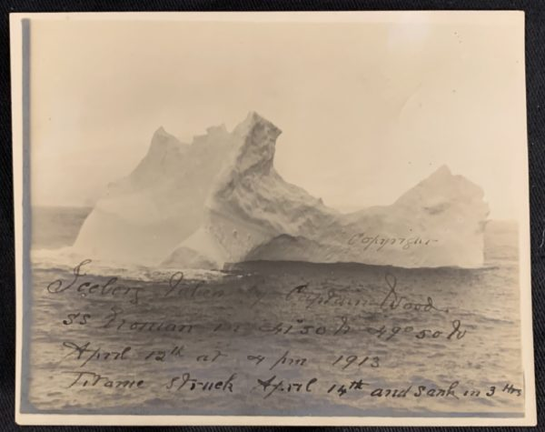 iceberg taken by captain wood ss etonian in 41°50n 49°50w april 12th at 4pm 1913 sic e1593107314134