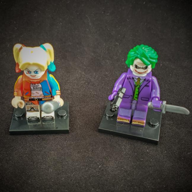 Joker and Harley Quinn block figurines - Lego compatible figurines