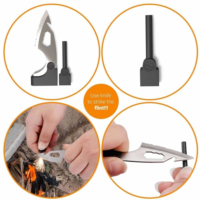 18 in 1 survival tool on a card - credit card sized survival tool kit flint sharpener