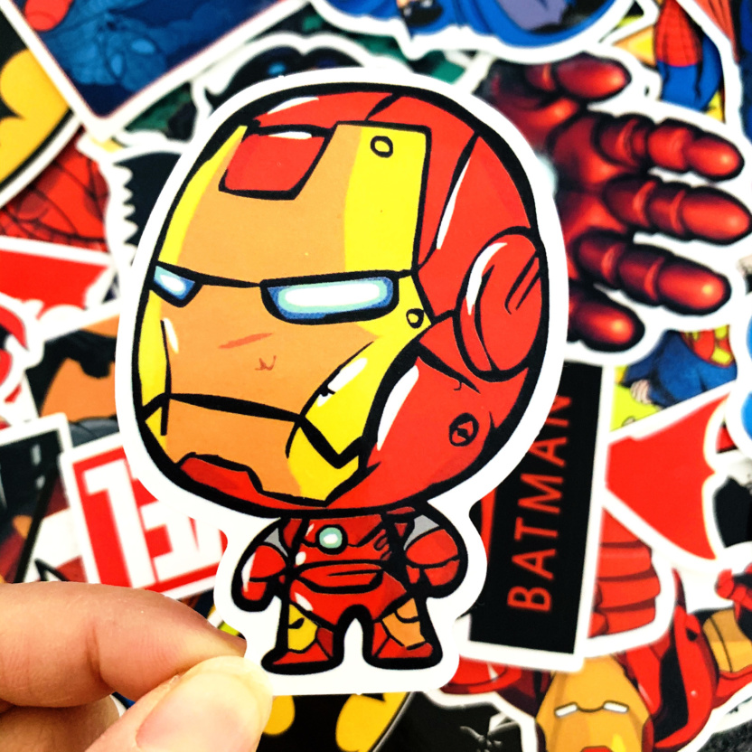 50 pieces DC and Marvel Waterproof Superhero Stickers - Iron Man