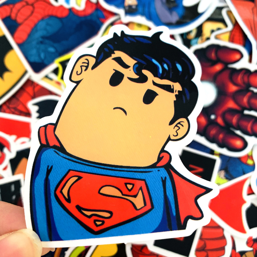 50 pieces DC and Marvel Waterproof Superhero Stickers - Superman
