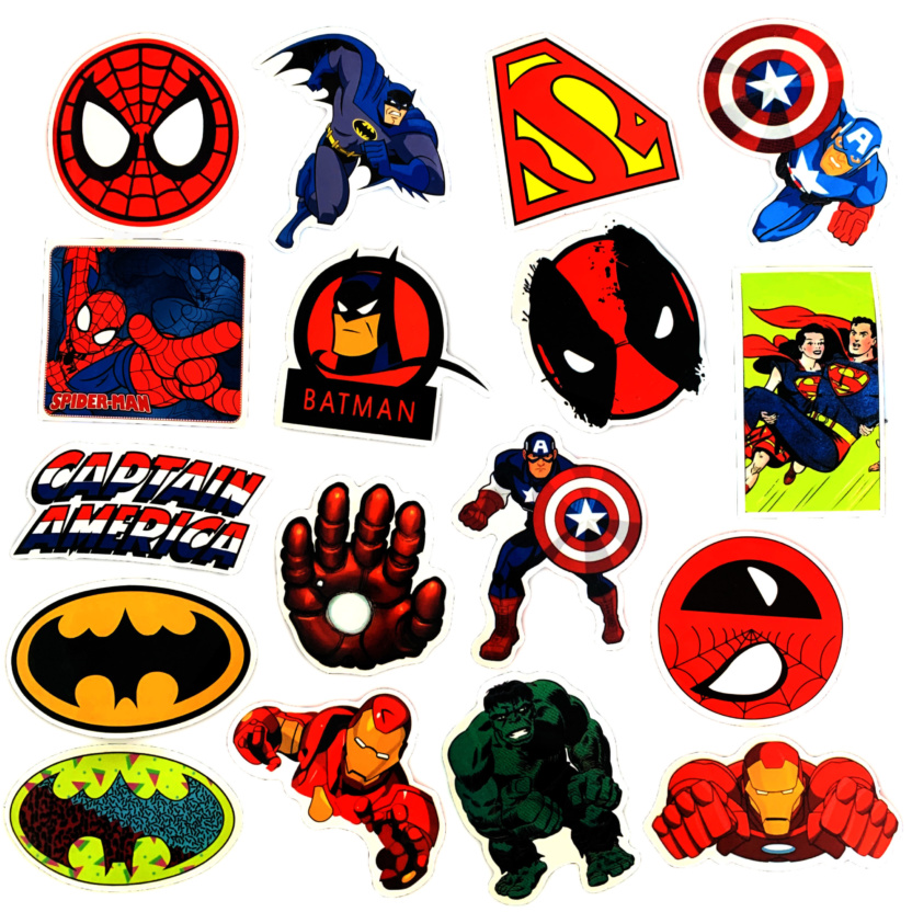 50 pieces Waterproof Superhero Stickers - DC Stickers and Marvel Stickers