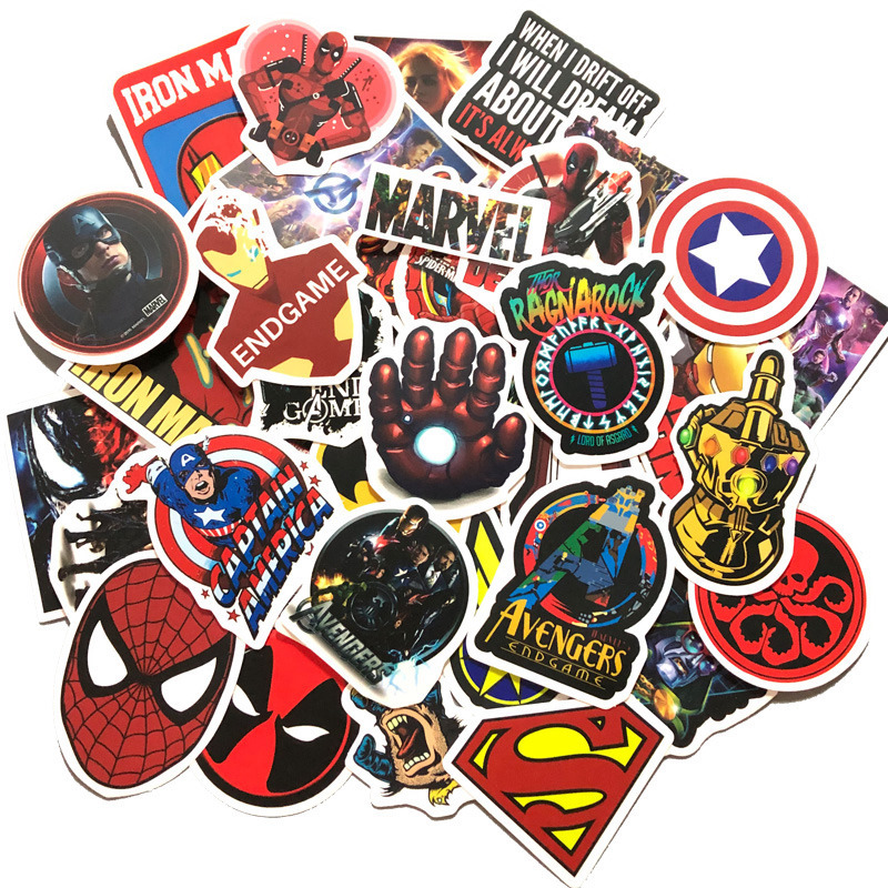 DC Stickers and Marvel Stickers - 50 pieces Waterproof Superhero Stickers