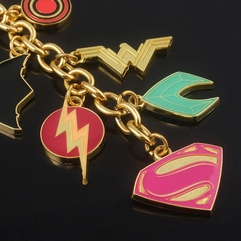 Justice League of America keychain - solid pewter metal DC symbol charms on keychain