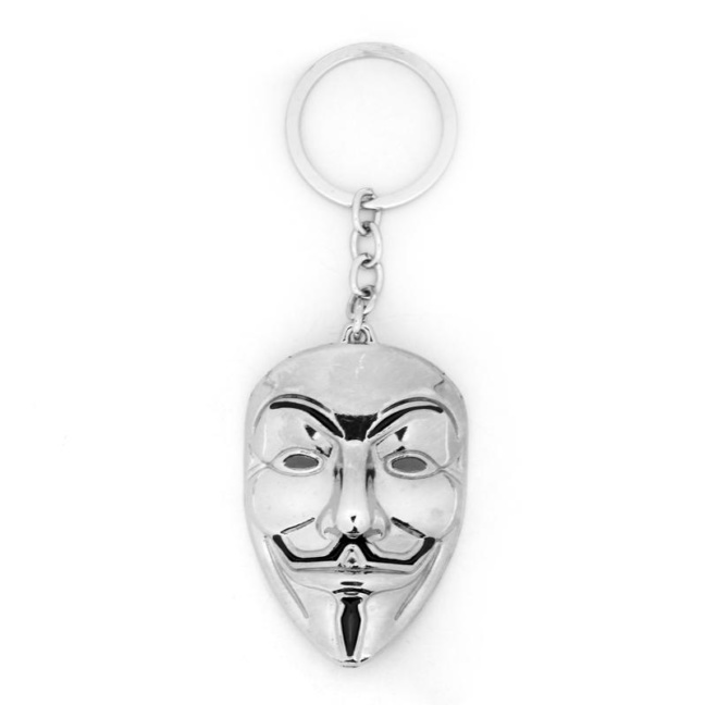 Guy Fawkes keychain - solid pewter metal Anonymous Mask V for Vendetta keychain
