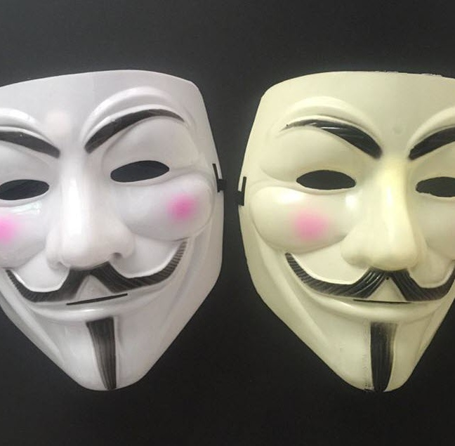 Anonymous Mask - V is for Vendetta Guy Fawkes Plastic Halloween mask - white yellow