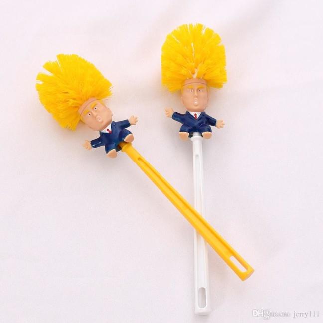 Donald Trump toilet brush head with yellow Trump hair bristles