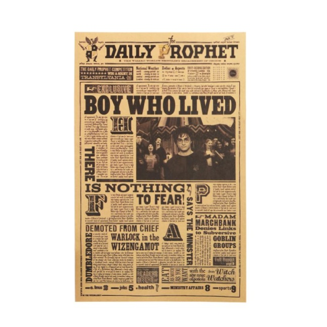 Harry Potter Poster - The Boy Who Lived Daily Prophet Retro Wall Poster`