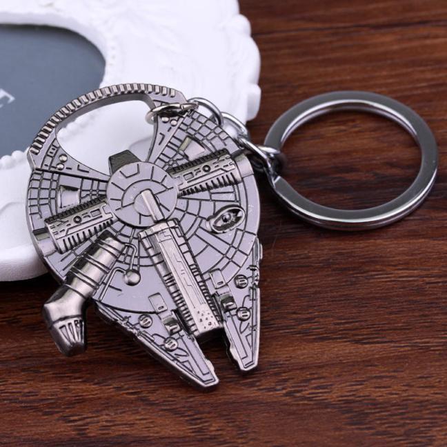 Millennium Falcon keychain - solid pewter metal Star Wars keychain