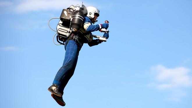 Man flying a jetpack