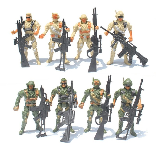 8-piece Special Ops Army Men Toy Soldiers with 5-point articulation and weapons