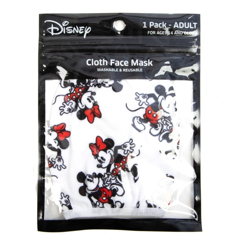 Minnie and Mickey Adult Adjustable Face Mask/Cover in package