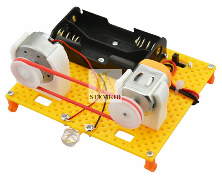 Electric motor and generator science kit assembled