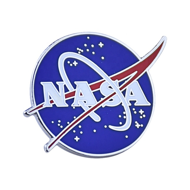 Full color raised metal enamel NASA pin - durable enamel pin with official NASA insignia