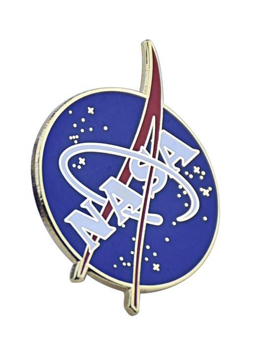 Full color raised metal enamel NASA pin gold