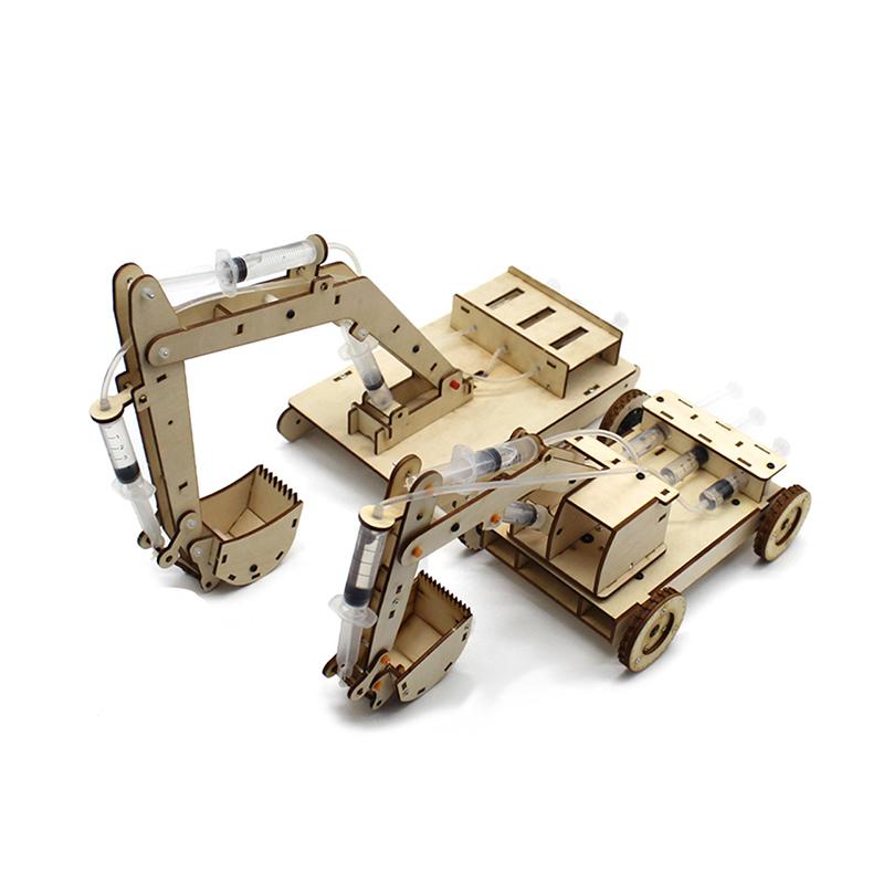 Hydraulics model kit - wooden hydraulic excavator model demonstrates engineering principles