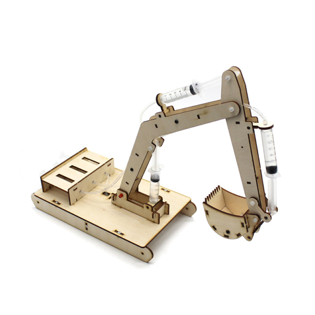 Hydraulics model kit - wooden hydraulic excavator model demonstrates engineering principles
