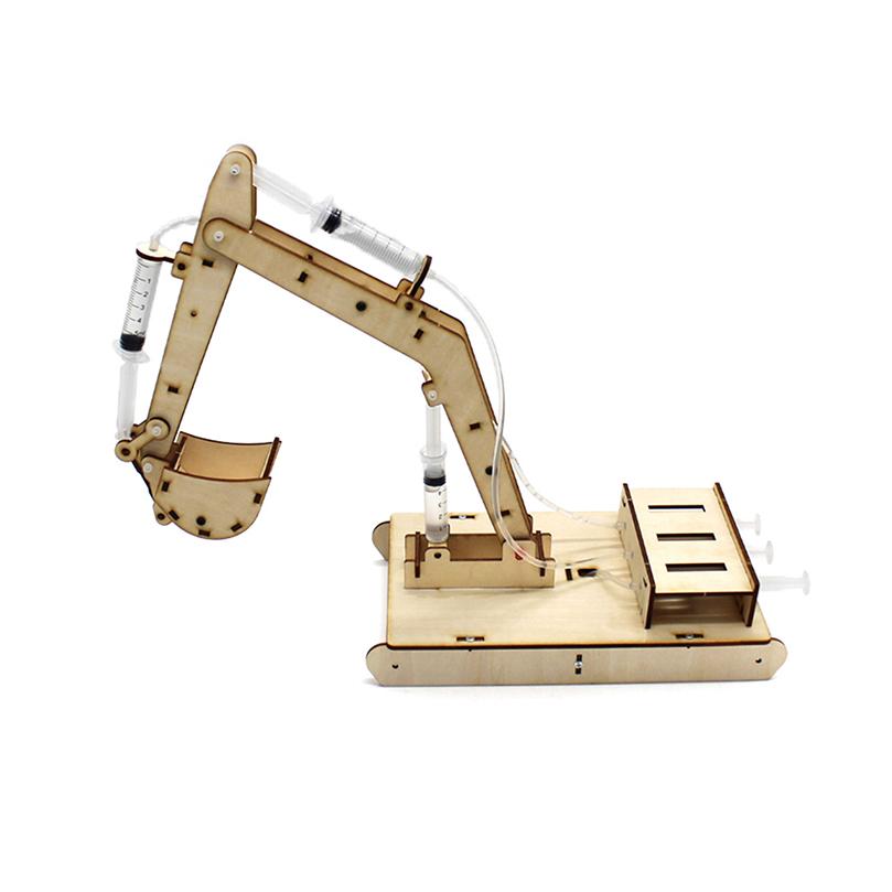Hydraulic excavator wooden model kit - hydraulic principles demonstration