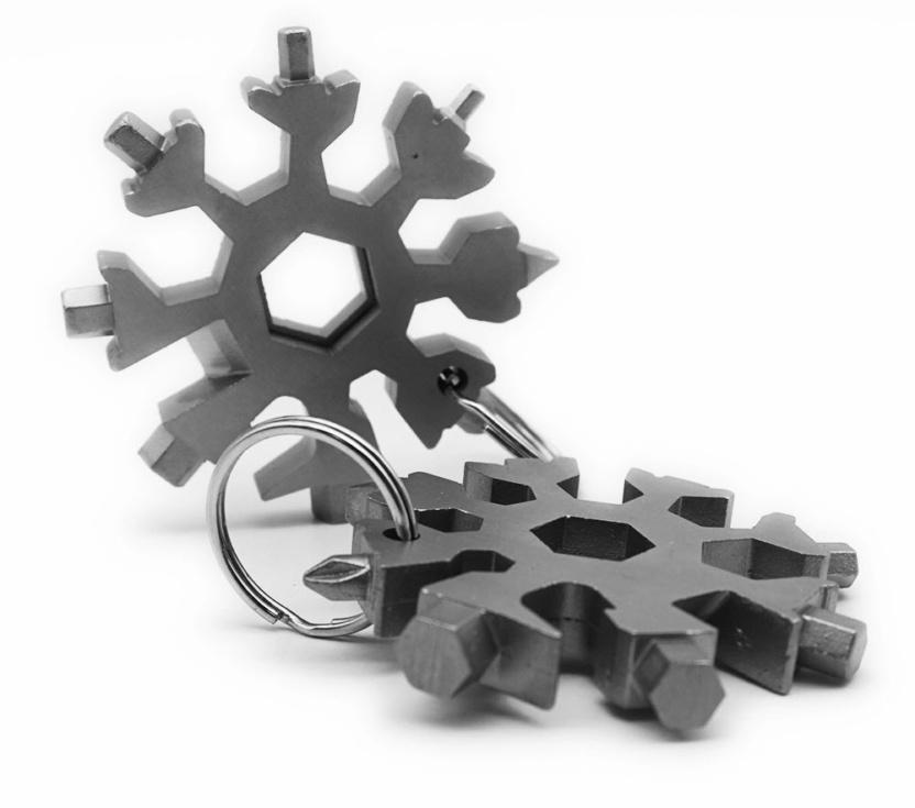 Solid stainless steel snowflake multi tool - popular 18-in-1 multifunction tool