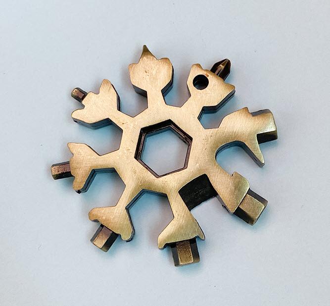 Solid stainless steel snowflake multifunction tool - popular 18-in-1 multitool bronze