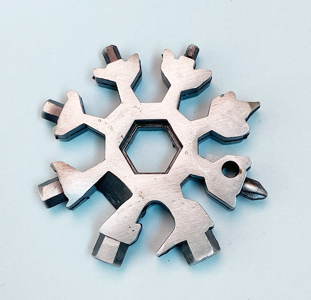 Solid stainless steel snowflake multifunction tool - popular 18-in-1 multitool silver