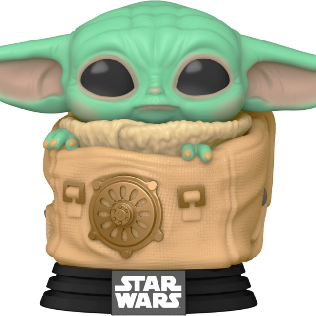 Star Wars: The Mandalorian Child with Bag Baby Yoda Bobblehead Pop! Vinyl Figure