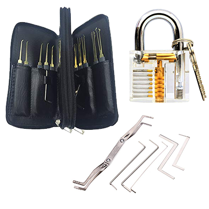 24 pc. Lock Picking Tools - Multi-function lock pick set with clear practice lock all