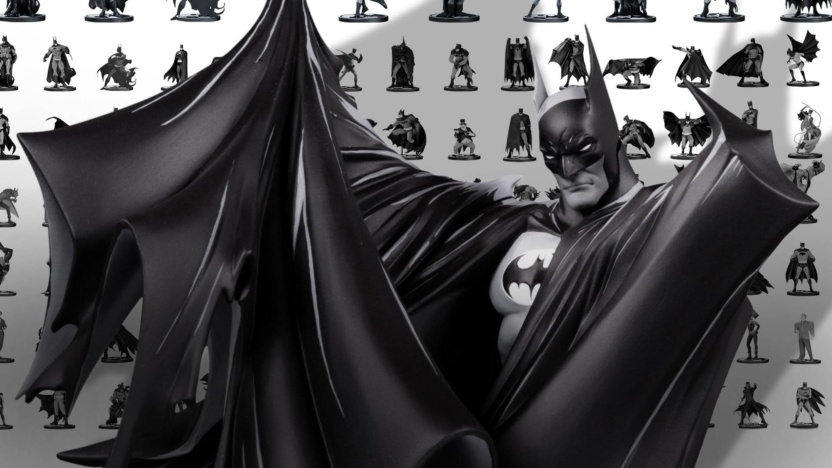 Batman Black and White Statue by Todd McFarlane display