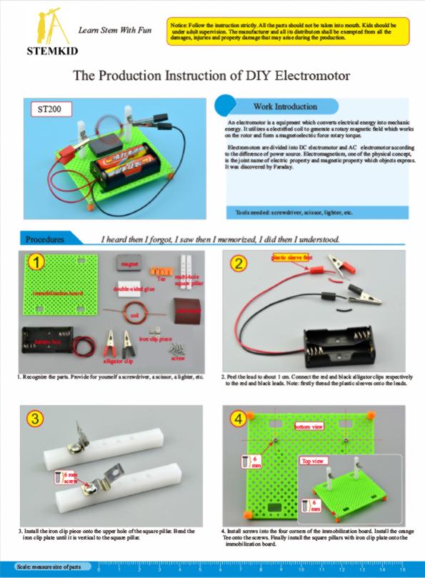 Electric motor principles kit - DIY physics science experiment kit instructions